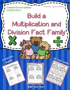 This product is an exciting addition to your math centers. It includes 28 Fact Family Task Cards and it contains blank Task Cards to create your own fact families.