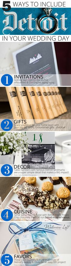 Planning a Detroit wedding? Whether you're bringing the city's urban style into your reception decor or cuisine - we've got 5 unique ways to include your hometown in your big day!   http://waterviewloft.com/waterfront-weddings/?utm_source=Pinterest&utm_medium=cpc&utm_term=detroit_wedding_details&utm_content=text_link&utm_campaign=promo_pin