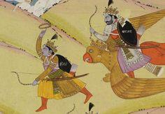 Indian Epics: Images and PDE Epics: Image: Krishna, Arjuna and Pradyumna Fight Nikumbha