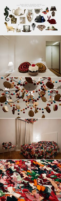 perfect chandelier if I owned a bakery! And how fun are those pillows!!