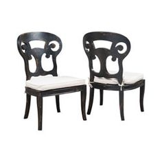 Verona Club Side Chairs In Crossroads Black With Linen Cushions - Set of 2 - 695032P