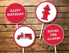 Printable Little Firetruck Birthday Party Cupcake Toppers