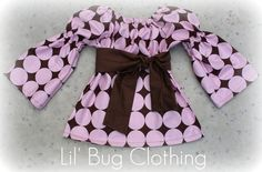Custom Boutique Cocoa Pink Disco Dot Peasant by LilBugsClothing