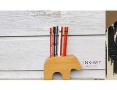 Blissful Bear Pencil Holder, Designed by Tara Hogan of INK + WIT and made by Alan Dorsey Children's Boutique, Boutique Design, Pencil Holder, Pen Holders, Teacher Christmas Gifts, Teacher Gifts, Green Building, Office Decor, Something To Do