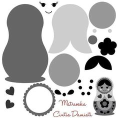 Could be used as a paper piecing pattern Felt Fabric, Fabric Dolls, Paper Dolls, Matryoshka Doll, Felt Decorations, Felt Patterns, Felt Toys, Felt Ornaments, Felt Crafts