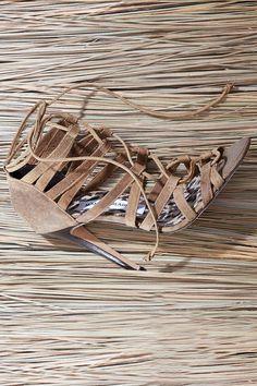 Manolo Blahnik lace up leather sandals