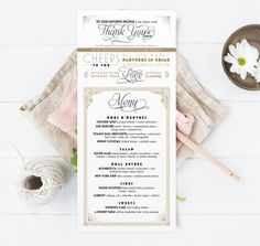 Vintage Thank You Menu Inspired by Art Deco Great Gatsby 1920's - -Printable Wedding Menus - Black & Gold Menu Cards - Daisy