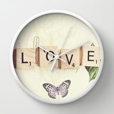Love Scrabbles Wall Clock Photo Wall Clock Modern by whimsycanvas, $50.00