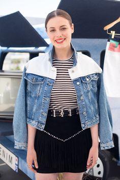 Lovely Gillian Jacobs wears the VALDA denim jacket, SS17, Denim Capsule