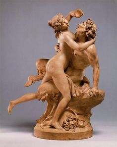 CLODION: Satyr and Baccante-The Intoxication of Wine, c.1780–90. Terracotta, H. 23 x W. 16 7/8 x D. 11 1/4 in. (58.4 x 42.9 x 28.6 cm), MET, N.Y. While often Neoclassical, his manner at times remained quite Rococo, as in the present example. Although Clodion received a number of important commissions for monumental marble sculptures, his fame and popularity rested on his skill at modeling small-scale terracotta groups for private collectors.