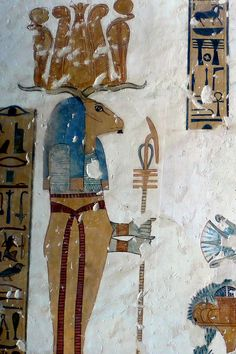 """Banebdjedet (Banebdjed) was an Ancient Egyptian ram god with a cult centre at Mendes. Khnum was the equivalent god in Upper Egypt. His wife was the goddess Hatmehit (""""Foremost of the Fishes"""") who was perhaps the original deity of Mendes.[2] Their offspring was """"Horus the Child"""" and they formed the so-called """"Mendesian Triad"""".[3] The words for """"ram"""" and """"soul"""" sounded the same in Egyptian so ram deities were at times regarded as appearances of other gods.[2] Typically Banebdjedet was depicted…"""