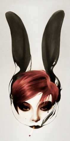 In my imagination those ears are headphones <3     Rosie by Ruben Ireland