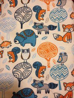 Woodland crib sheet blue orange by MountainPeakBoutique on Etsy