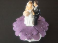 Cake Topper Wedding Medium Purple Bride and Groom 70 anemone flower colors available by ArtisanFeltStudio, $42.00
