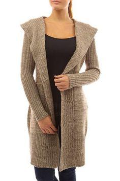 9d9cf774e PattyBoutik Women s Hooded Pockets Knit Open Cardigan (Brown and Beige XL)   PattyBoutik Hooded Long Sleeve Pockets Belt Knit Open Cardigan Sweater Coat.