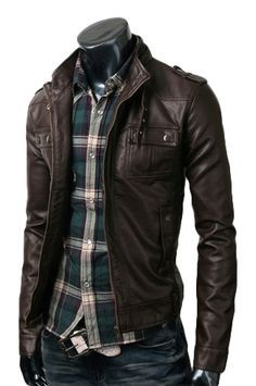 Strap Pocket Dark Brown Leather Jacket_$189