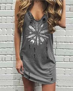 V Collar Sling Printed Broken Holes Distressed Dress Plus Size Crop Tops, Plus Size T Shirts, Casual Tops, Casual Shirts, Distressed Dress, Panzer, Types Of Sleeves, Casual Dresses, Clothes