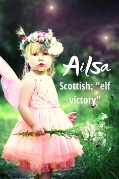 """Pronounced, """"AYL-suh"""", this is a place name derived from a Scottish island called """"Ailsa Craig"""" and otherwise known as fairy island. It may also mean """"elf victory"""". It was not ranked in the top 1000 names for girls in 2018 so it is definitely still very unique.  #placenames #girlnames #babynames Modern Baby Girl Names, Baby Names, Place Names, Writing Resources, Victorious, Elf, Flower Girl Dresses, Fairy, Island"""