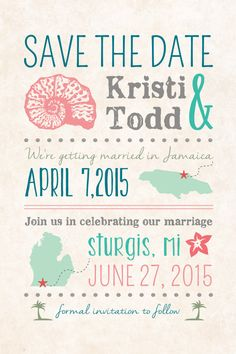 DIY Custom Save The Date Postcard. After the Destination Wedding. At Home…