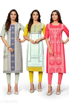Checkout this latest Kurtis Product Name: *Trendy Women's Kurti* Fabric: Crepe Sleeve Length: Short Sleeves Pattern: Printed Combo of: Combo of 3 Sizes: S (Bust Size: 36 in, Size Length: 44 in)  M (Bust Size: 38 in, Size Length: 44 in)  L (Bust Size: 40 in, Size Length: 44 in)  XL (Bust Size: 42 in, Size Length: 44 in)  XXL (Bust Size: 44 in, Size Length: 44 in)  Country of Origin: India Easy Returns Available In Case Of Any Issue   Catalog Rating: ★4 (370)  Catalog Name: Kashvi Petite Kurtis CatalogID_1942455 C74-SC1001 Code: 945-10606175-1851