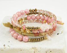 Pink memory wire wrap bracelet multi strand #pink #bracelet #bangle #wrap #bead #handmade #jewelry #boho
