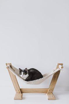 Cat hammock Ergonomic cat mattress Cat furnishings Cat macrame pet hammock Cat presents Pet hammock Macrame hammock Oak mattress Eco furnishings Ikea Kallax Shelf, Design Patio, Design Design, Dog Hammock, Eco Furniture, Plywood Furniture, Handmade Furniture, Oak Beds, Cat Room