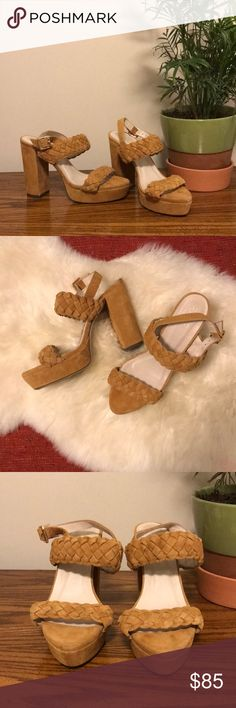 Revolve RAYE Braided Suede Leather Chunky Heels These are so cute, only worn once and in perfect condition. RAYE Shoes Sandals