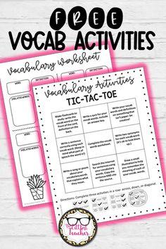 Free Vocabulary Activities Choice Menu and Worksheet