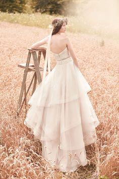 grande immagine  Vestido de noiva Sem Mangas Cinto Gola de Coração Cauda Pequeno