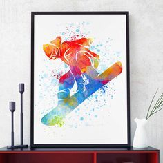 Snowboard Decor, Watercolor Print, Snowboarder Gift, Sports Decor, Bedroom Wall Art (N058) by PointDotPrints on Etsy https://www.etsy.com/listing/266751470/snowboard-decor-watercolor-print
