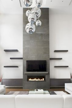 Terrific Free of Charge Contemporary Fireplace remodel Suggestions Modern fireplace designs can cover a broader category compared to their contemporary counterparts. Fireplace Tile Surround, Tall Fireplace, Fireplace Shelves, Home Fireplace, Fireplace Remodel, Living Room With Fireplace, Fireplace Surrounds, Living Room Decor, Concrete Fireplace