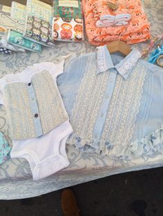 Matching upcycled onsie & caplet for sisters   Thebohobabyboutique/Etsy