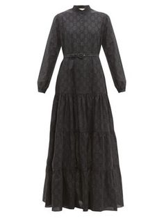 GG broderie-anglaise cotton-blend maxi dress | Gucci | MATCHESFASHION Beach Wear Dresses, Tiered Skirts, Lace Sleeves, Dress Skirt, Designer Dresses, Women Wear, Outfits, Clothes For Women, Womens Fashion