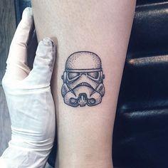 Stormtrooper Tattoo by Shanna Keyes #stormtrooper #blackwork #dotwork #fineblackwork #blackworkartist #blackink #ShannaKeyes