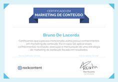 Certificado em Marketing de Conteúdo pela Rock Content. #contentmarketing #marketingdigital