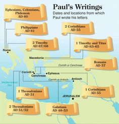 Dates and locations from which St. Paul wrote his letters. Some Bible study before bed. Bible Study Notebook, Bible Study Tools, Scripture Study, Bible Teachings, Bible Scriptures, Bible Quotes, Beautiful Words, Quick View Bible, Bibel Journal