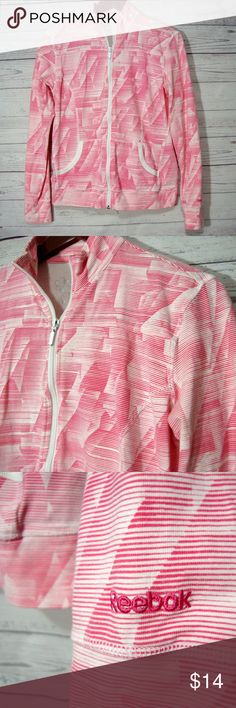 Reebok Athletic Jacket Size M Medium Pink Striped From Reebok  Size M  Laying flat it measures: underarm to underarm - 19.5 inches across from back of neck to bottom -  23 inches  Color: pink and white print  cotton stretch blend  Gently used  From a smoke free and pet friendly home Reebok Jackets & Coats