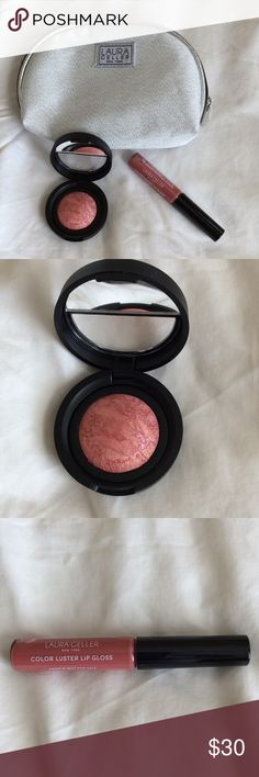 Laura Geller Make up Trio Laura Gellar Baked Blush in Tropic Hues, Luster Lipgloss in Cookie Dough and Silver Sparkle Make up Bag. Never used...New Sephora Makeup Blush