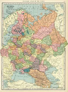 Подробная карта Российской Империи, 1906 год. (Европейская часть).