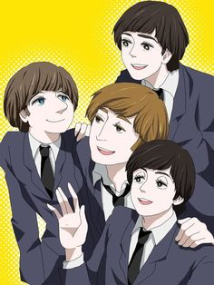 anime beatles. i like paul the best, but why does he have such long eyelashes compared to the others?