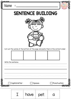 Free sentence building has 10 pages of sentence building worksheets. This product is great for pre-K, kindergarten and first grade students. These pages will teach children to read, write and build sentences. Children are encouraged to use thinking skills while improving their comprehension and writing skills. These pages are great for morning work, word work and literacy centers. Preschool | Kindergarten | First Grade | First Grade | Free Sentence Building
