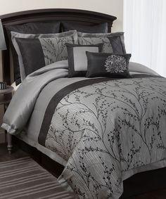 Silver Flower Comforter Set