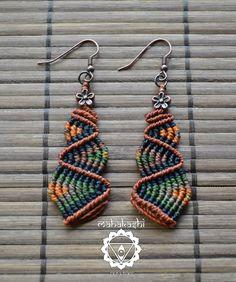Macramè 'earthly colors' dangle earrings by MahakashiCreations, £13.00
