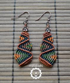 Macramè 'earthly colors' dangle earrings by MahakashiCreations, £13.00