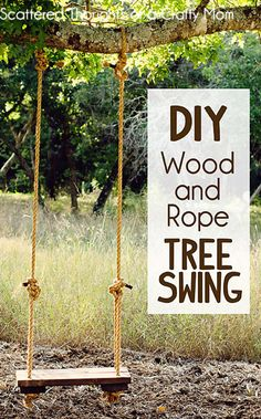 DIY Wood and Rope Tree Swing Tutorial This will be for her photoshoot when she's a tiny bit older!
