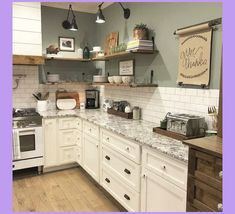 33 Nice Rustic Farmhouse Kitchen Cabinets Design Ideas - Country kitchen cabinets determine design in creating the distinctive character of each kitchen. Everyone loves the warmth of a country kitchen. Kitchen Wall Cabinets, Farmhouse Kitchen Cabinets, Kitchen Cabinet Design, Rustic Kitchen, Kitchen Counters, Rustic Farmhouse, Farmhouse Kitchens, Kitchen Backsplash, Farmhouse Ideas