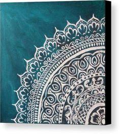 Mandala Canvas Print featuring the painting Jade Mandala by Jennie Hallbrown