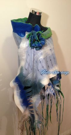 www.nadinsmo.com  #Handmade wool felted Luxury long scarf wrap with ruffles From pure merino wool,soft and natural 18mic,natural Wensleydale and Teeswater curls,mulberry silk,silk fibers