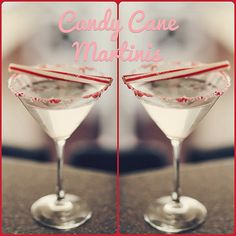 Candy Cane Martini Recipe-  1 1/2 shots vanilla vodka 1 1/2 shots creme de cacao 1 shot peppermint schnapps Serve with Candy Cane= Christmas in a Cup