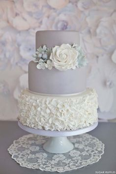 I like this cake but fresh flowers instead? Beautiful Cake Pictures: Pale Grey Cake & White Sugar Ruffles: Cakes with Flowers, Cakes With Ruffles, Wedding Cakes Elegant Wedding Cakes, Beautiful Wedding Cakes, Gorgeous Cakes, Wedding Cake Designs, Pretty Cakes, Amazing Cakes, Cake Wedding, Wedding Shower Cakes, Wedding Table